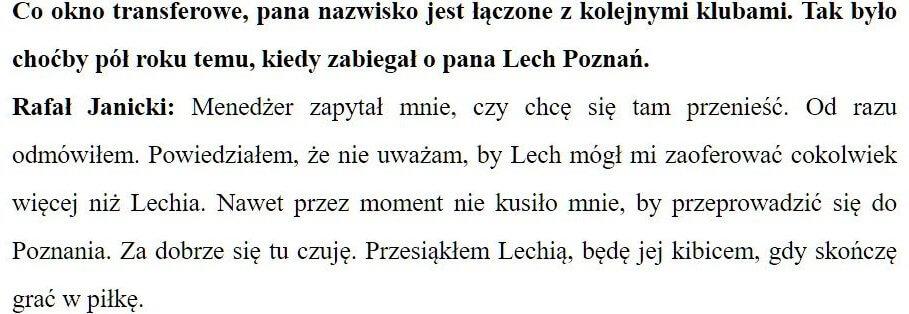 Rafał Janicki kibicem Lechii Gdańsk
